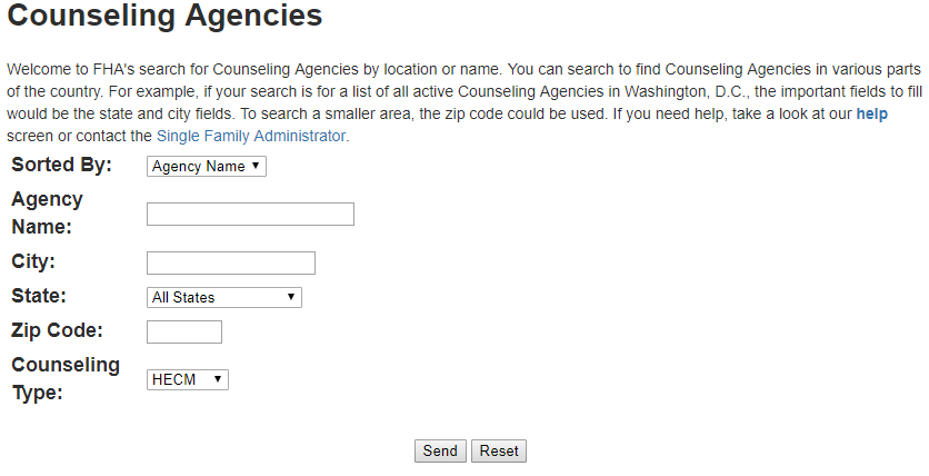 FHA's Search Site For Houseing Counseling